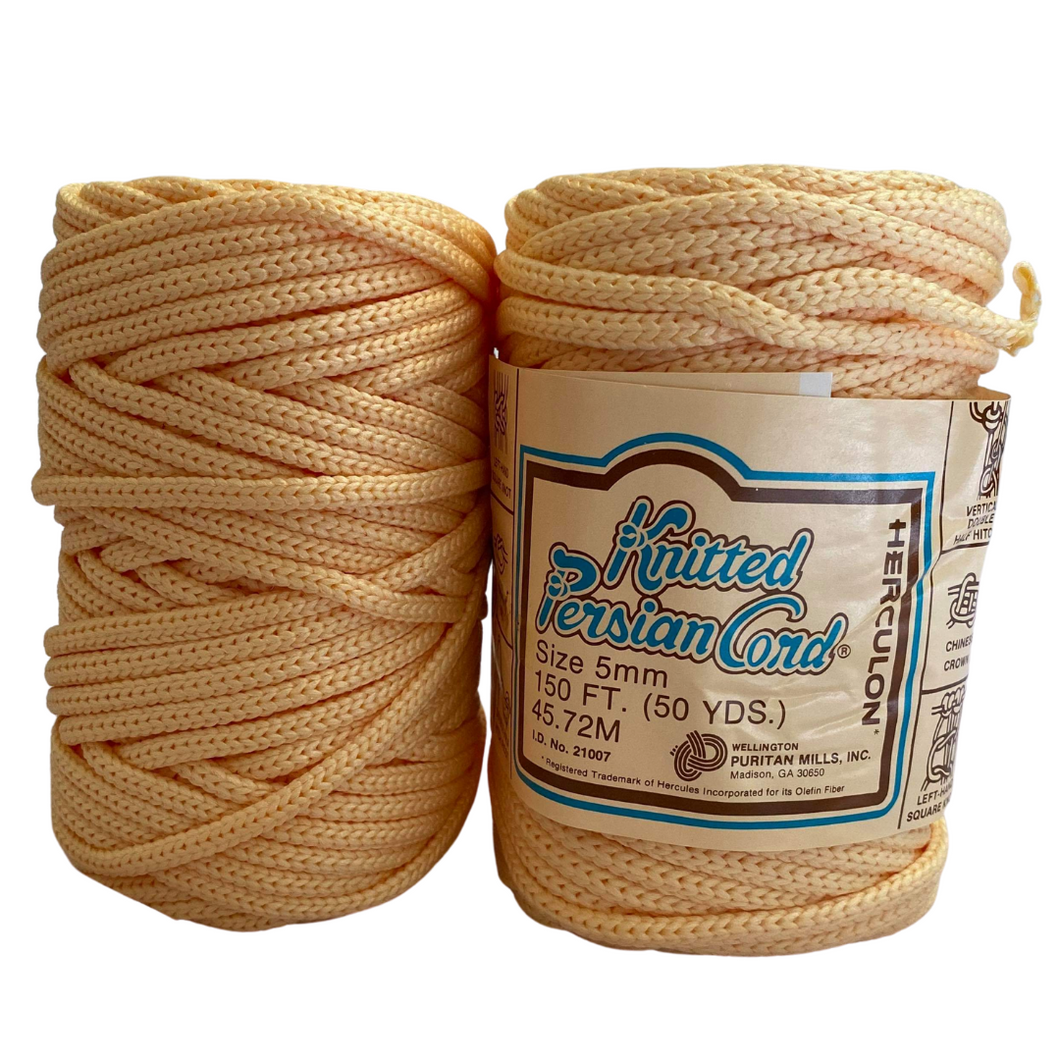(Eggshell) Vintage Knit Synthetic Cord - 5mm / 50yd