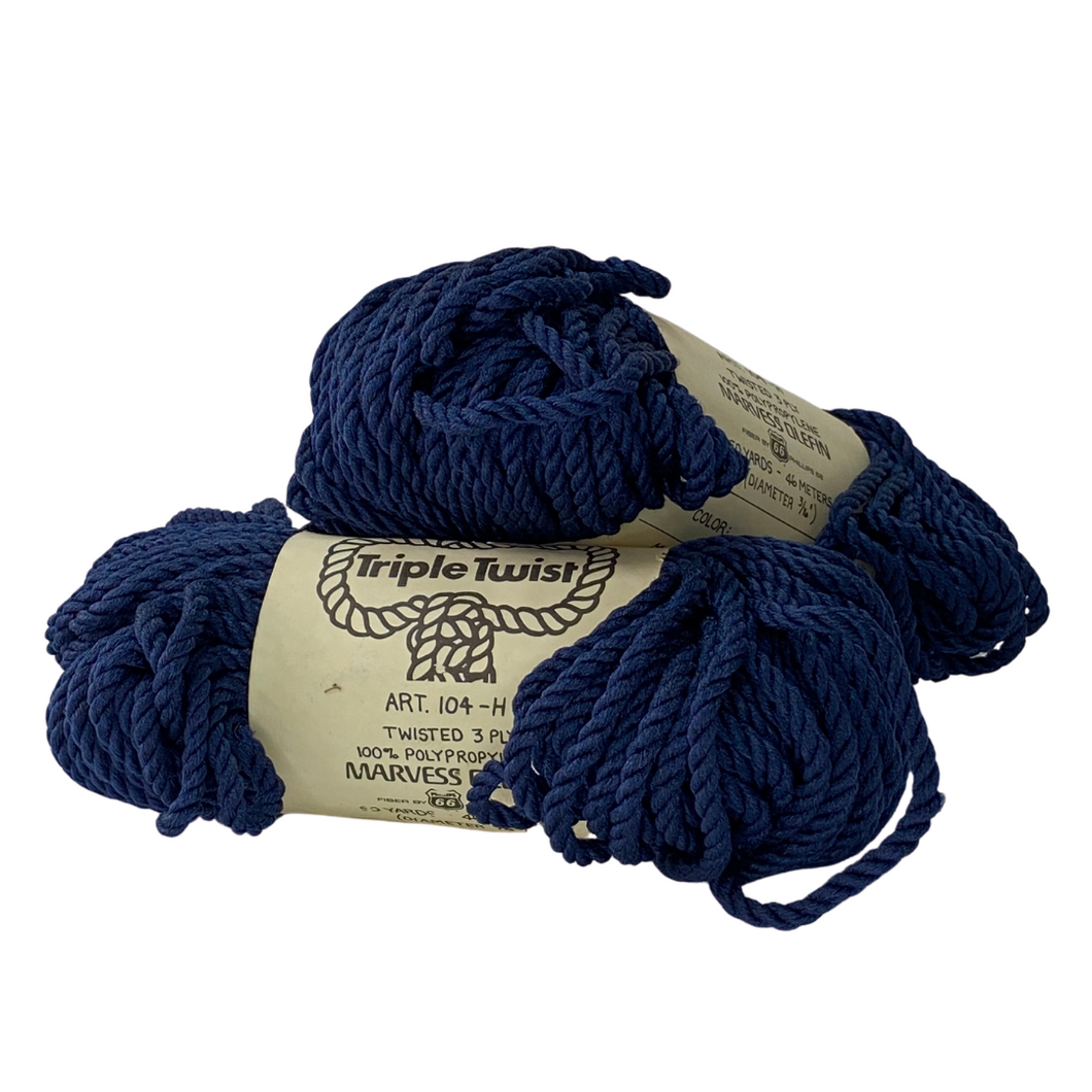 (Dark Blue) Triple Twist Cord - 5mm / 50yd