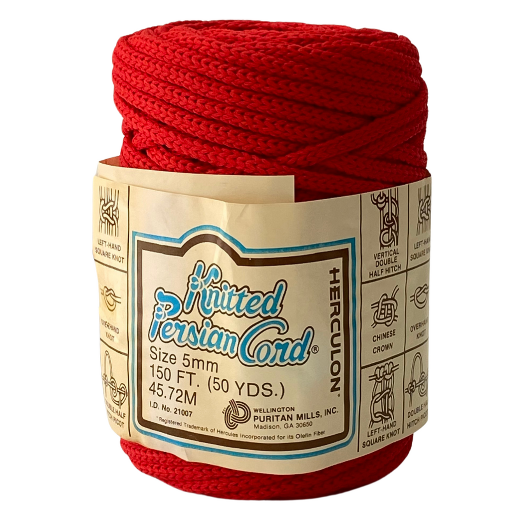 (Red) Vintage Knit Synthetic Cord - 5mm / 50yd
