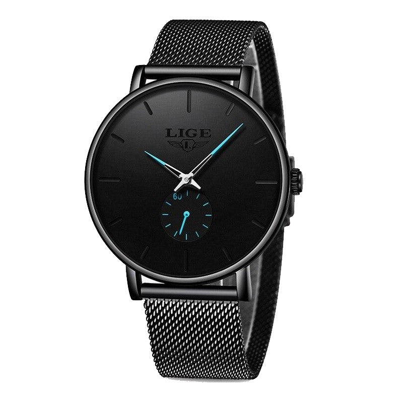 URBANE Stainless Steel Lige Analog Watch - Black Blue