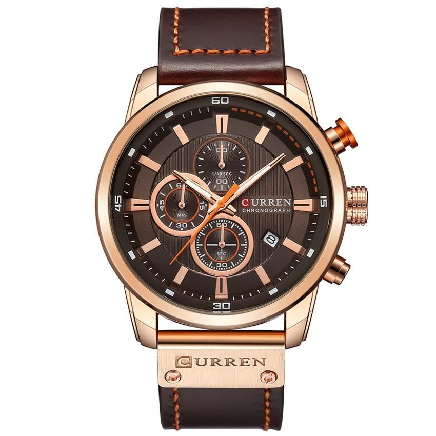 TALISMAN Leather Strap Chronograph Curren Watch - Rose Coffee