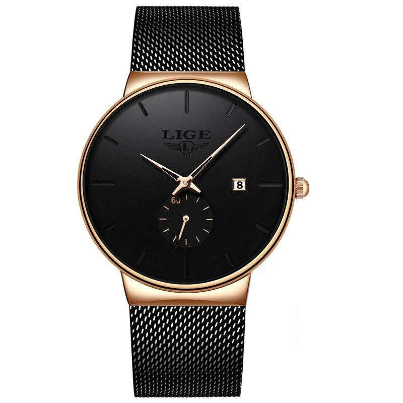 URBANE Stainless Steel Lige Analog Watch - Gold Black