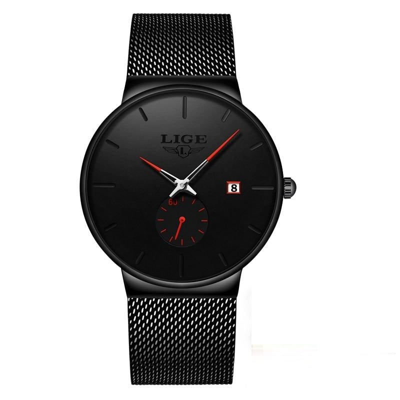URBANE Stainless Steel Lige Analog Calendar Watch - Black Red