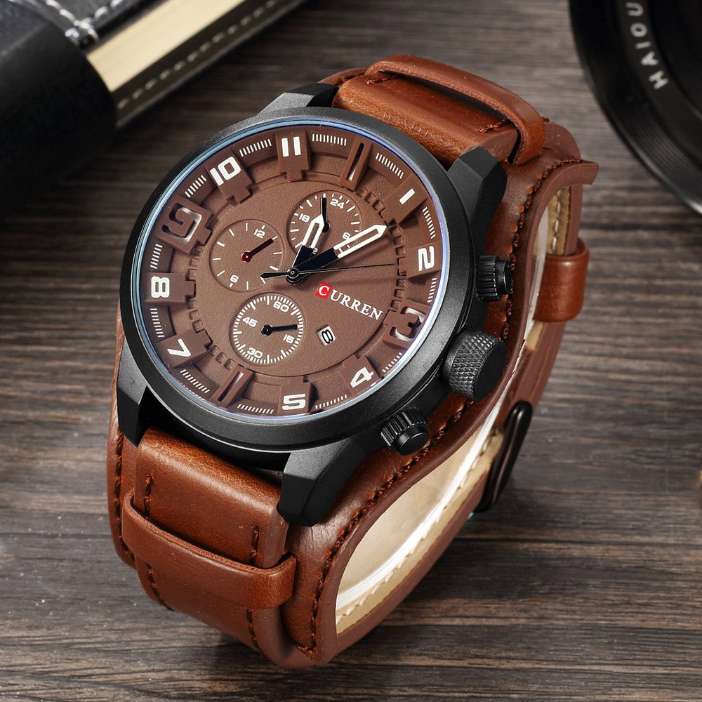 HUNTSMAN Leather Strap Curren Calendar Watch - Brown