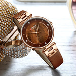 BLANCHE Leather Strap Analog Watch - Coffee