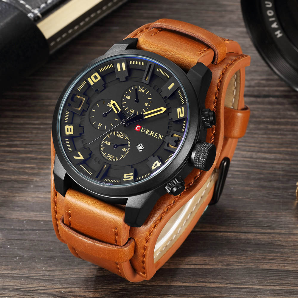 HUNTSMAN Leather Strap Curren Calendar Watch - Brown Black Yellow