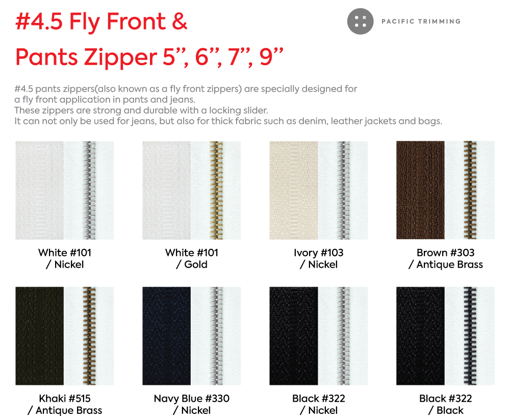 #4.5 Fly Front & Pants Zipper 5 Inch 6 Inch 7 Inch 9 Inch