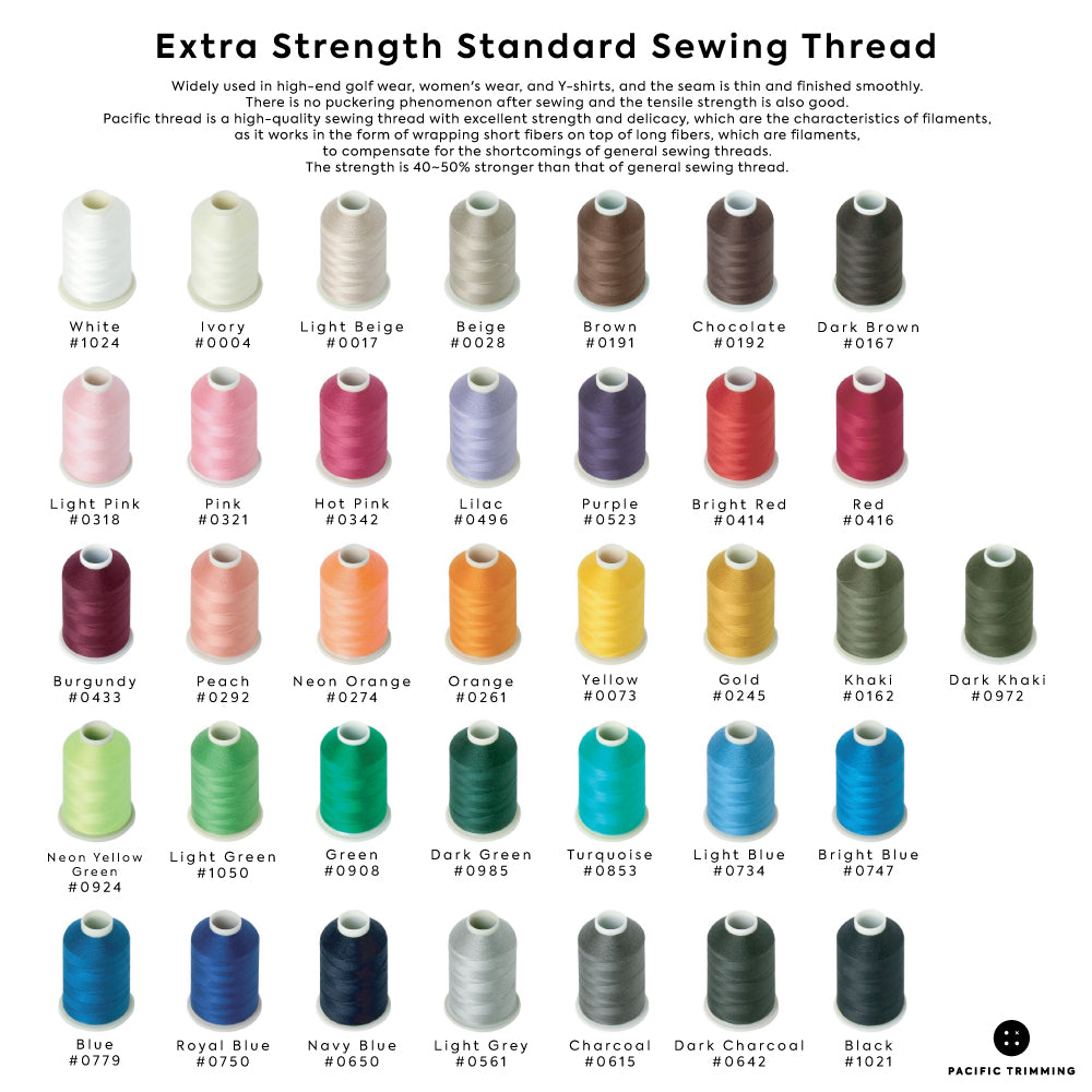 Extra Strength Standard Sewing Thread Color Chart