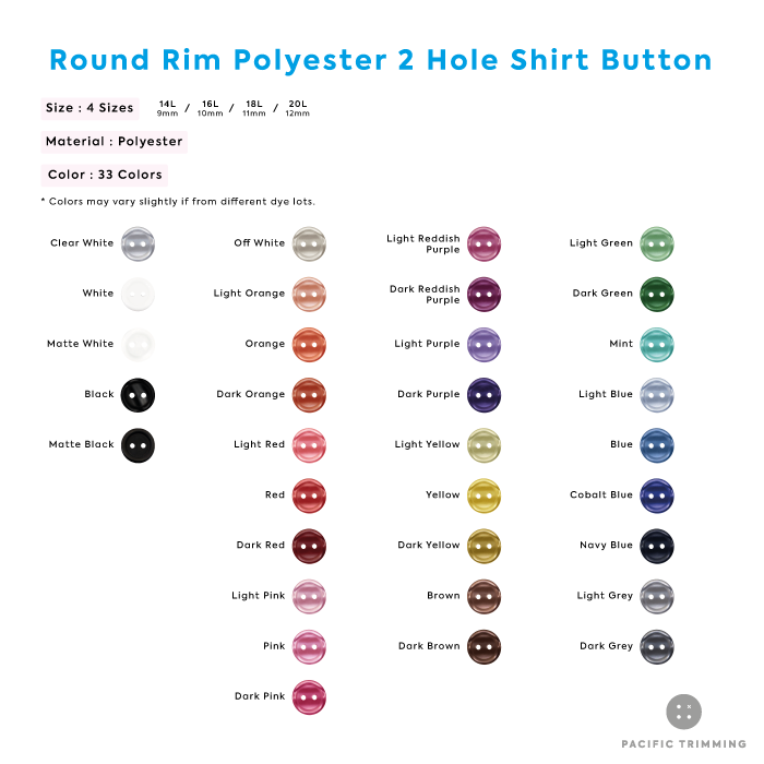 White & Black Round Rim Polyester 2 Hole Shirt Button Color Chart