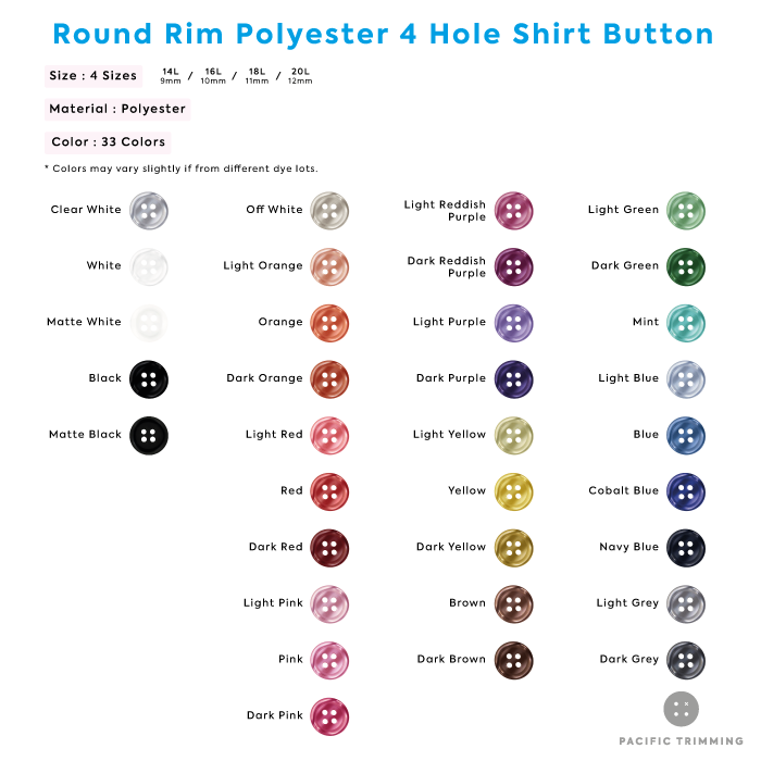 White & Black Round Rim Polyester 4 Hole Shirt Button Color Chart