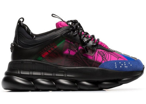 Versace Chain Reaction Black Multi-Color Rubber Suede