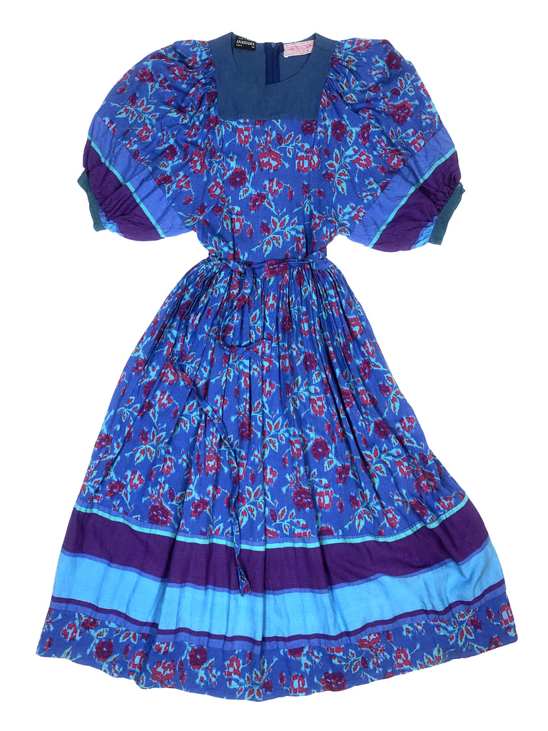Blue Anastasia dress plaisir palace vintage store paris thrift store luxury boutique marais vintage plaisirpalace. Fr