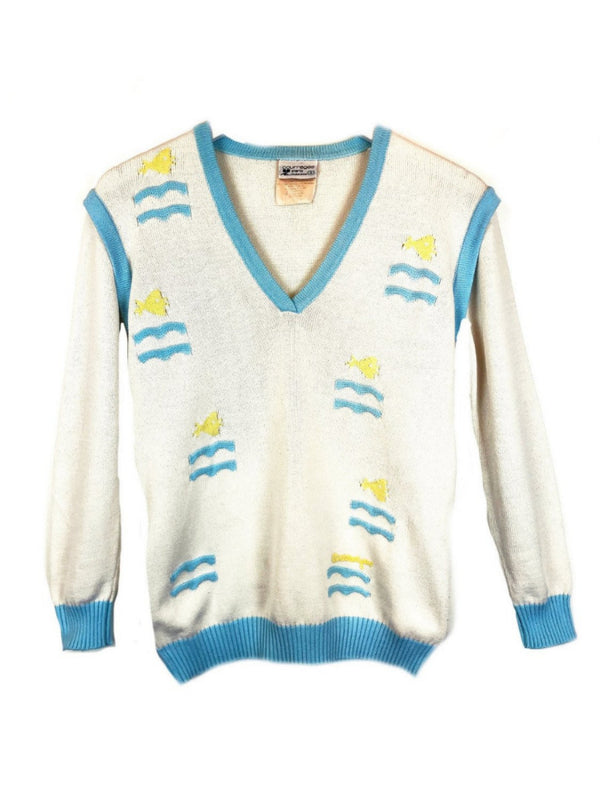 vintage cotton courrèges sweater with small fish pattern plaisir palace the high-end vintage boutique Paris second-hand luxury second-hand second-hand clothing store