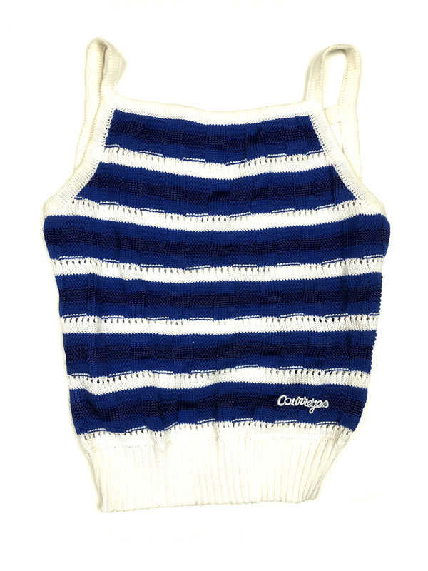 vintage courreges striped backless tank top plaisir palace the high-end vintage boutique Paris thrift store luxury second-hand depot-vente blue and white