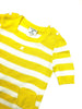 vintage courreges yellow and white striped cotton top at plaisir palace the high-end vintage boutique Paris second-hand luxury second-hand second-hand clothing store