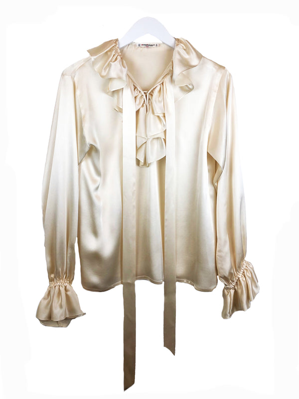 SAINT LAURENT champagne-colored silk blouse rive gauche vintage @plaisirpalace the upscale vintage boutique Paris 3 luxury thrift store