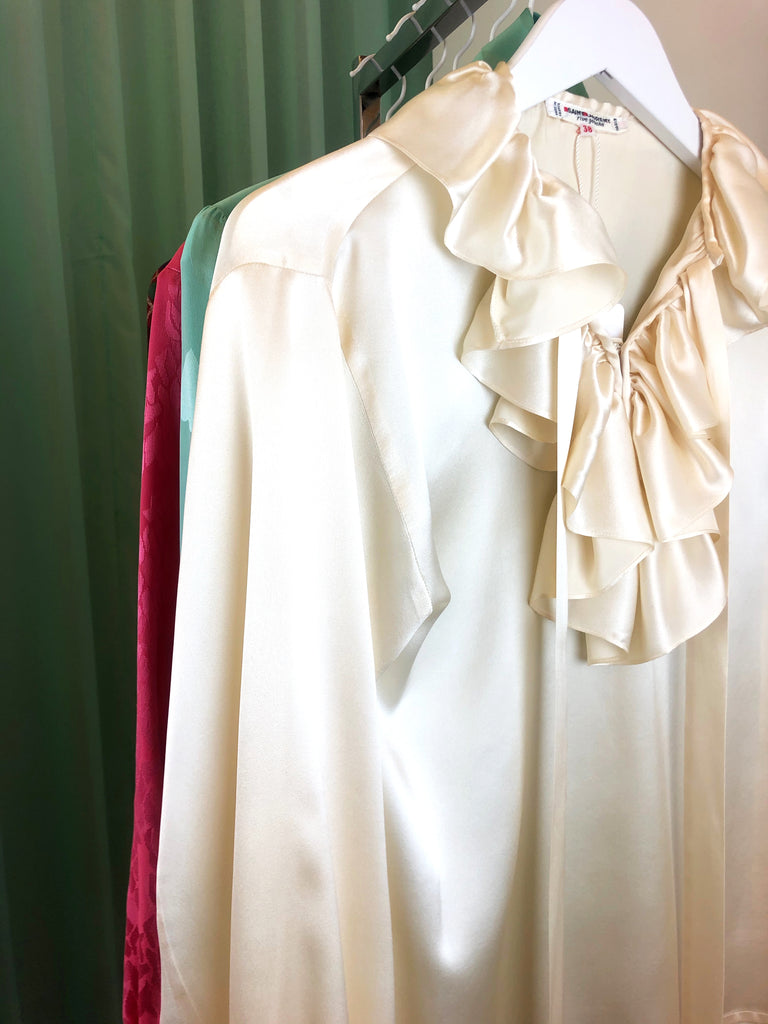 vintage silk blouse ysl yves saint laurent curated vintage store in paris plaisir palace plaisirpalace luxury fashion second hand