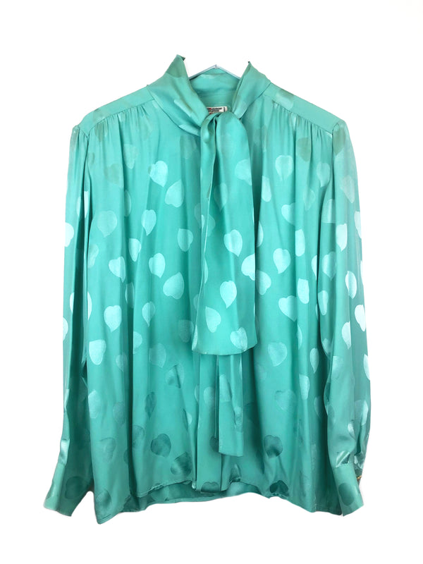 SAINT LAURENT blouse in vintage water green silk Plaisir Palace the upscale vintage boutique Paris marais luxury thrift