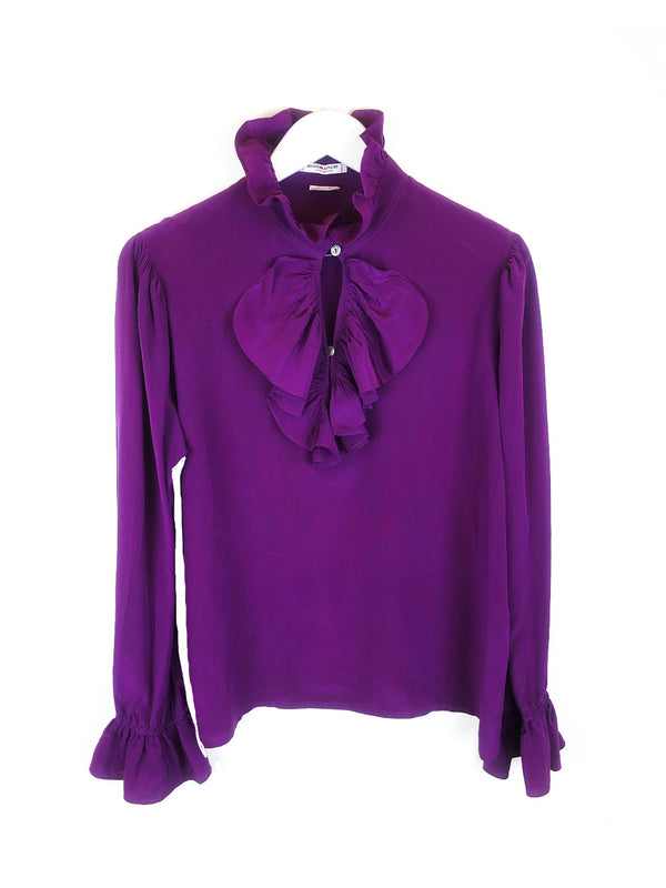 SAINT LAURENT purple silk blouse rive gauche size 38 plaisir palace the upscale vintage boutique Paris marais luxury thrift