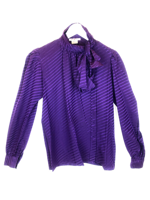 Vintage SAINT LAURENT purple silk blouse Plaisir Palace the upscale vintage boutique Paris marais luxury thrift