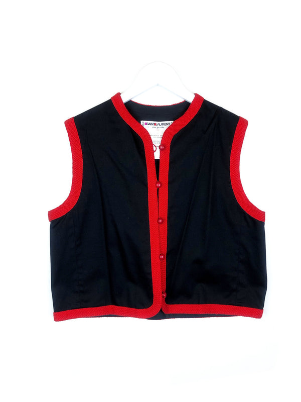 Saint Laurent red and black cotton bolero rive gauche vintage ysl @plaisirpalace plaisir palace the upscale vintage boutique in Paris luxury thrift store
