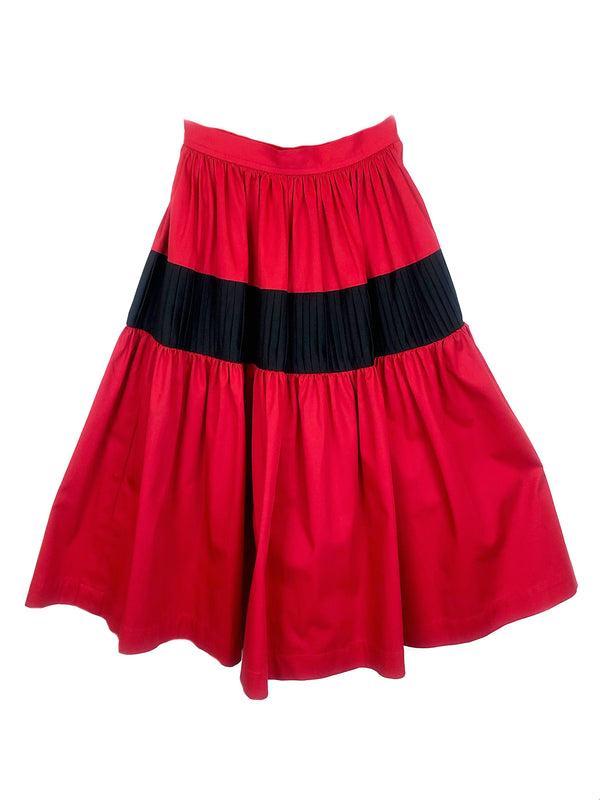 red cotton skirt ysl yves saint laurent vintage shopping paris chanel lanvin balmain givenchy courreges hermès mugler cardin ungaro
