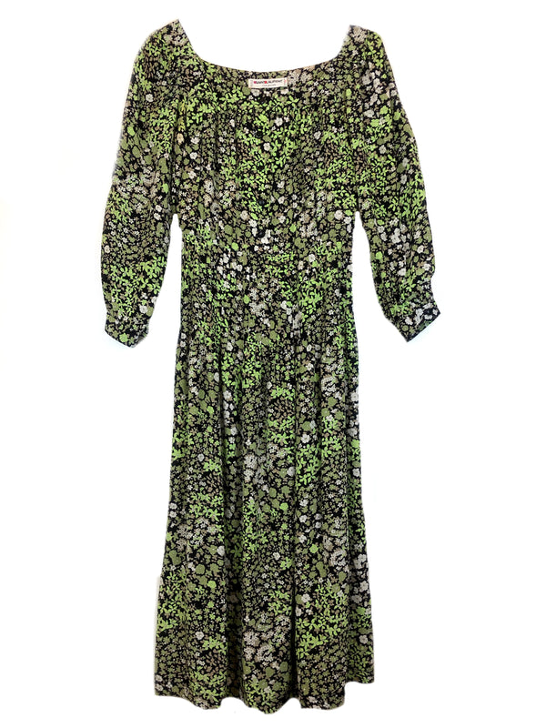 Vintage SAINT LAURENT floral pattern green silk dress Plaisir Palace the high-end vintage boutique Paris marais thrift store luxury second hand vintage depot-vente