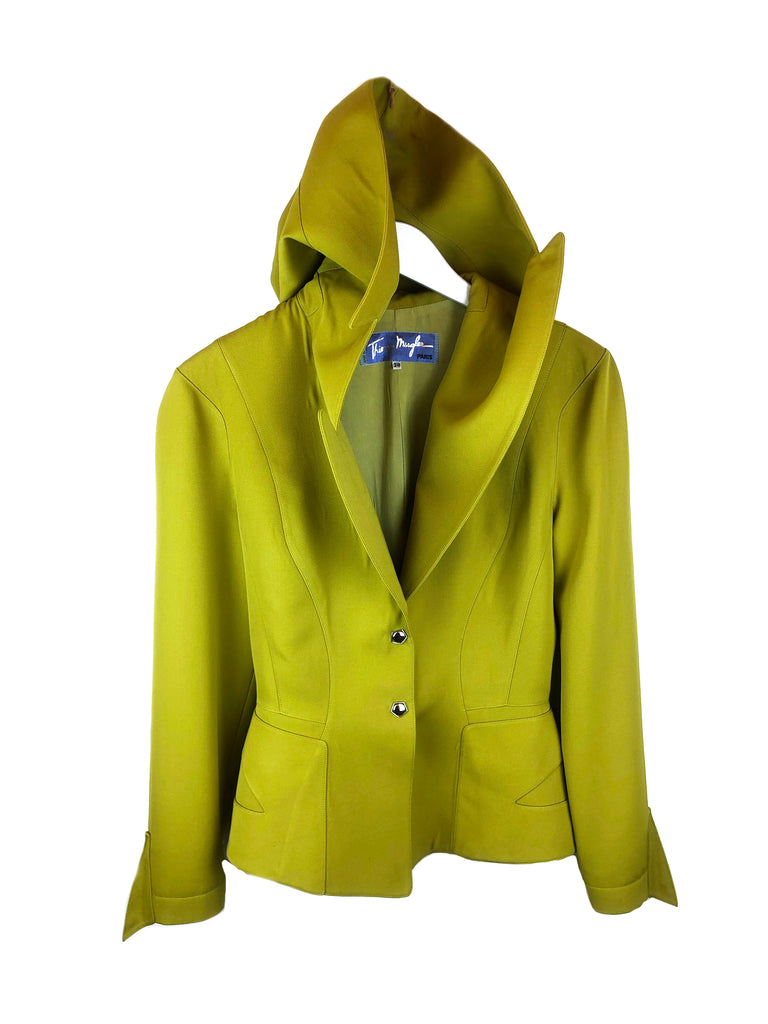 Green hooded jacket THIERRY MUGLER size 38 vintage plaisir palace the high-end vintage boutique Paris second-hand luxury thrift store depot-vente