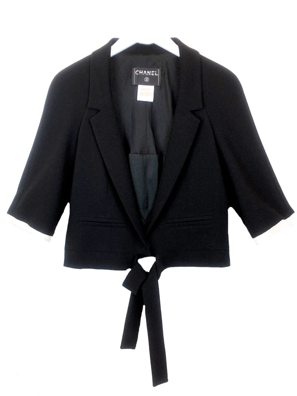 chanel vintage black wool jacket with belt at plaisir palace the vintage paris store