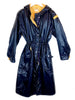 courreges hyperbole vintage long rain coat blue yellow interior chez plaisir palace Paris