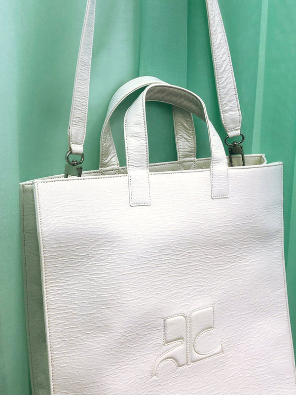 courreges shopping bag white vinyl plaisir palace paris
