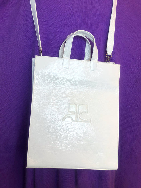 sac cabas courreges vinyle blanc plaisirpalace.fr