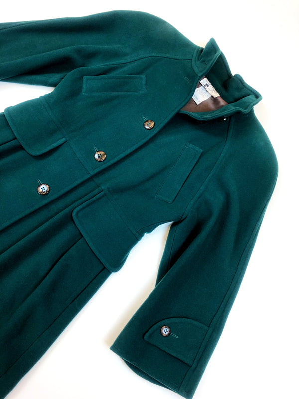 Courreges vintage green wool coat at plaisir palace paris le marais vintage store