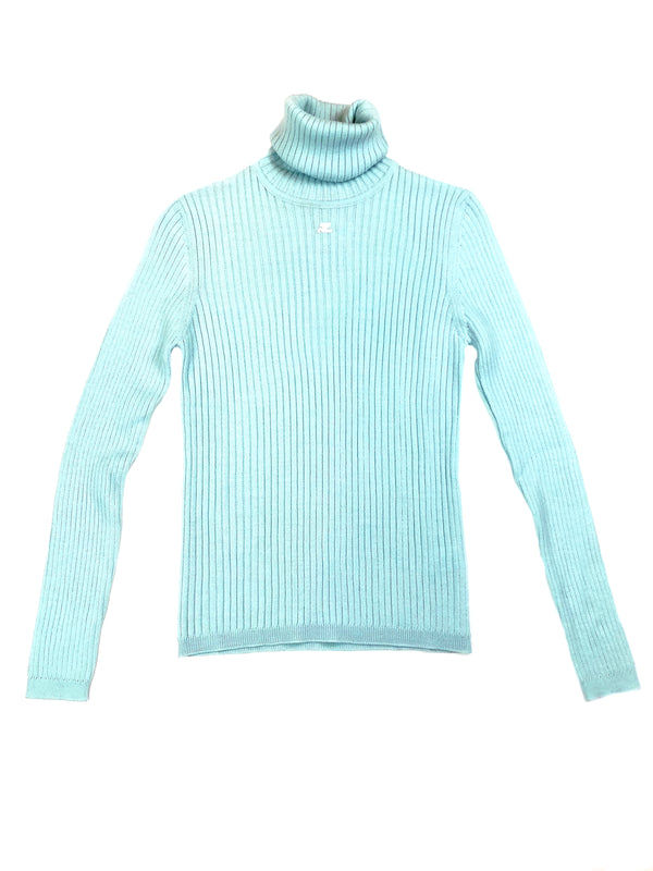 courreges vintage wool sweater turtleneck at plaisir palace the high-end vintage boutique Paris second-hand luxury second-hand second-hand clothing store