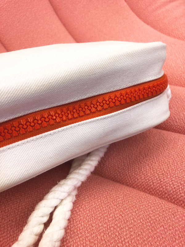sac courreges vintage detail fermeture eclair orange plaisir palace