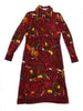 hermes vintage burgundy brown wool dress with duck pattern chez plaisir palace paris vintage shop