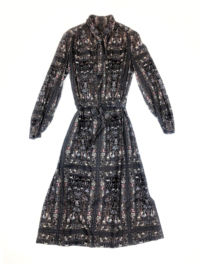 vintage wool and cotton dress with doe pattern plaisir palace Paris