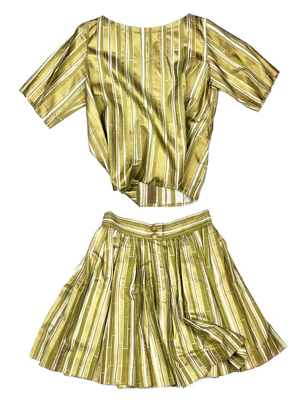 yves saint laurent rive gauche vintage bamboo pattern silk top and skirt set plaisir palace the high-end vintage boutique Paris second-hand luxury second-hand second-hand clothing store