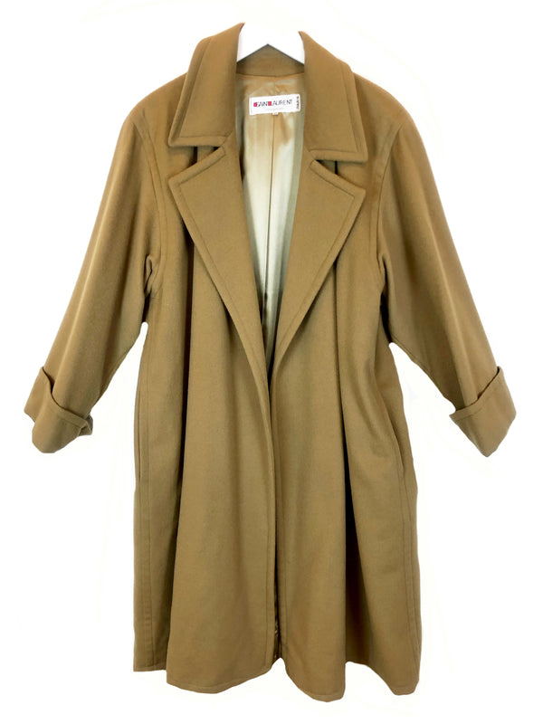 vintage saint laurent manteau long en laine camel chez plaisir palace paris