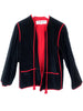 veste vintage ysl saint laurent en velours noir interieur rouge plaisir palace