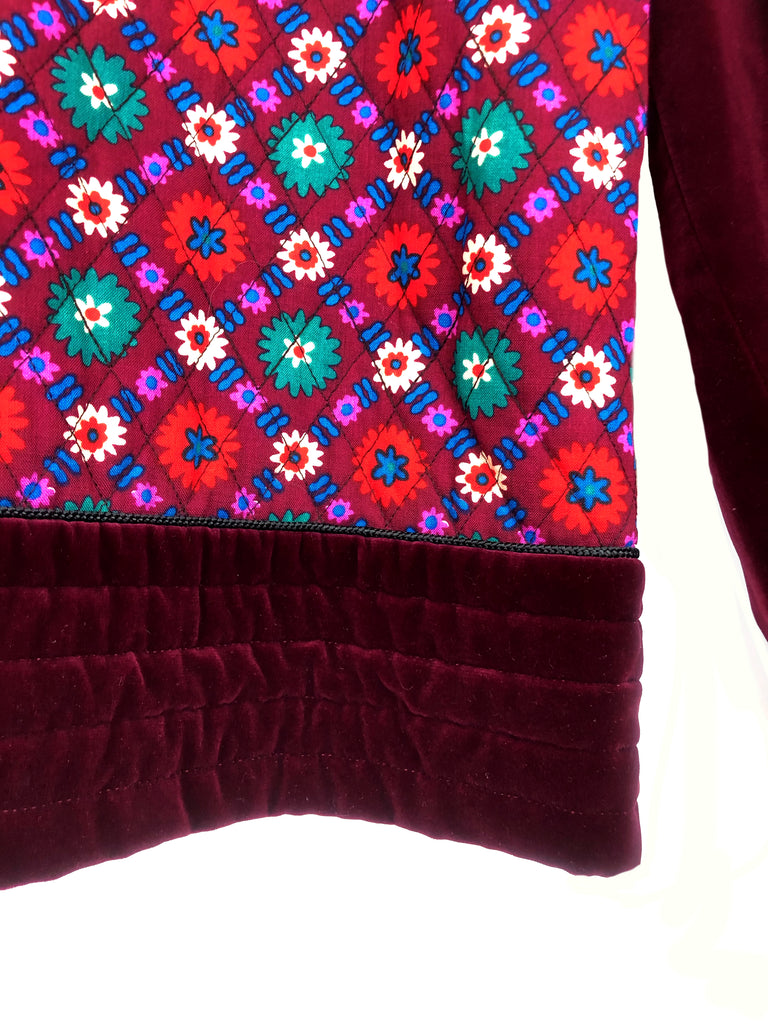 detail red white and green flower on velvet jacket Russian collection yves saint laurent vintage