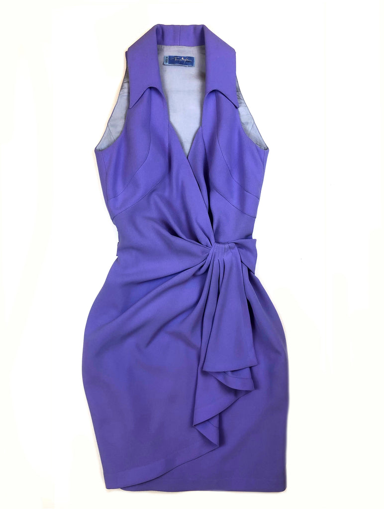 thierry mugler vintage purple sleeveless dress belted at the waist at plaisir palace the vintage paris store