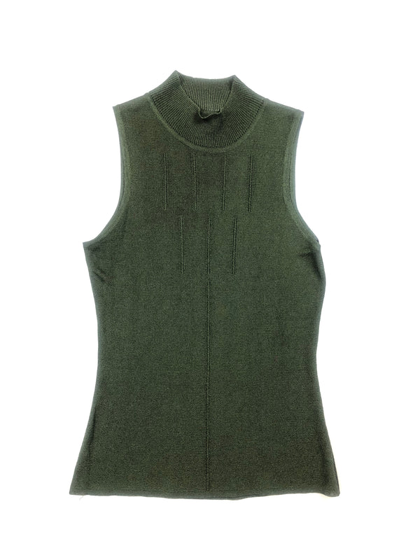 thierry mugler vintage top vert maille extensible chez plaisir palace boutique vintage paris