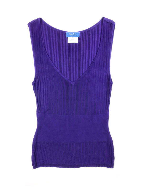 vintage thierry mugler purple top in stretch knit to find at plaisir palace Paris