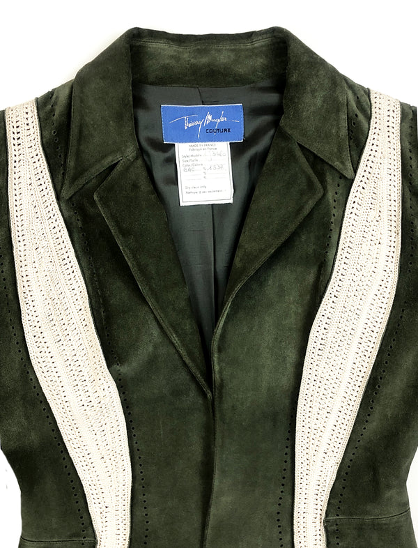 mugler vintage green leather jacket at plaisir palace paris best vintage store