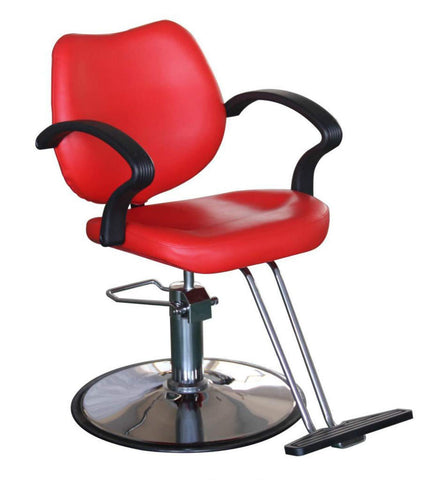 Styling Chair With Hydraulic Pump - Red - New Era Barber Supply