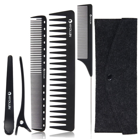 5 Pack of Hairstyling Combs With Bag - Black - New Era Barber Supply