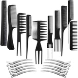 10 Pack of Hair Styling Combs - Black - New Era Barber Supply