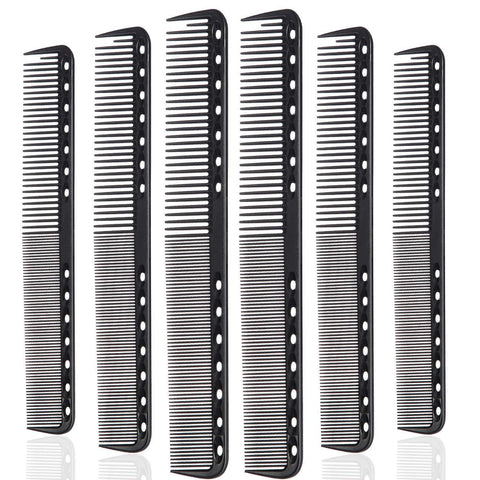 6 Pack of Hairstyling Combs - Black - New Era Barber Supply