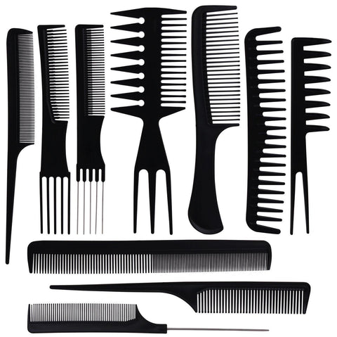 10 Pack of Hair Styling Combs - Multicolor - New Era Barber Supply